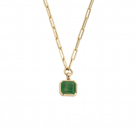 ALEXIS Emerald Gold Trace Chain Necklace