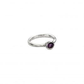 Silver Amethyst Baby Stone Ring