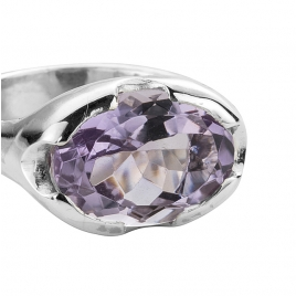 Silver Amethyst Open Treasure Ring detailed