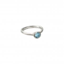 Silver Aquamarine Baby Stone Ring