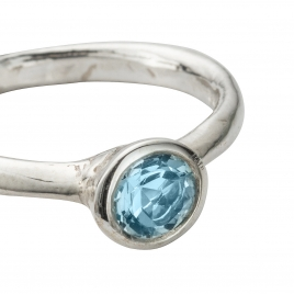 Silver Aquamarine Baby Stone Ring detailed