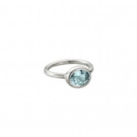Silver Grade B Aquamarine Baby Treasure Ring