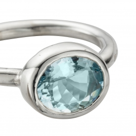 Silver Grade B Aquamarine Baby Treasure Ring detailed