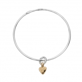 Silver & Gold Baby Heart Bangle
