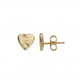 Gold Baby Heart Stud Earrings detailed