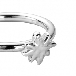Silver Love Struck Baby North Star Ring detailed