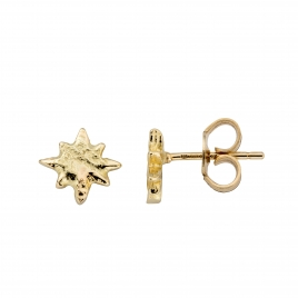 Gold Baby North Star Stud Earrings detailed
