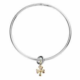 Silver & Gold Baby Shamrock Mini Bangle