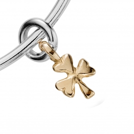 Silver & Gold Baby Shamrock Bangle detailed