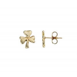 Gold Baby Shamrock Stud Earrings detailed