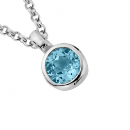 Silver Blue Topaz Baby Treasure Necklace detailed