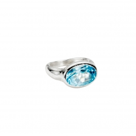 Silver Blue Topaz Treasure Ring