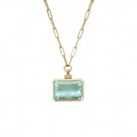 CELINA Gold Aquamarine & Diamond Trace Chain Necklace