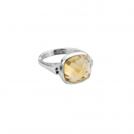 Silver Citrine Crystal Ring