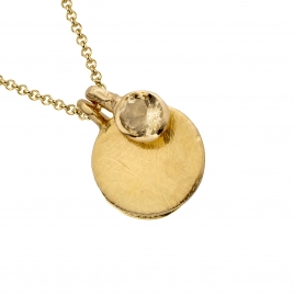 Gold Citrine Moon & Stone Necklace detailed