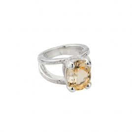 Silver Citrine Maxi Claw Ring
