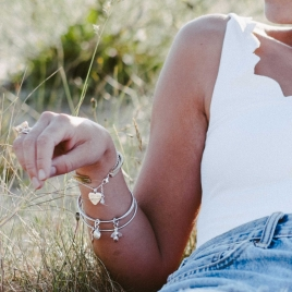 Silver Medium You Are Loved Chain Bracelet detailed