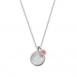 Silver Rose Quartz Moon & Stone Necklace