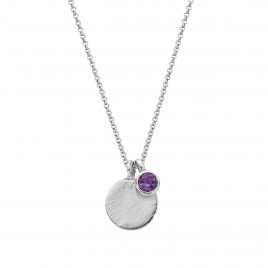 Silver Amethyst Moon & Stone Necklace