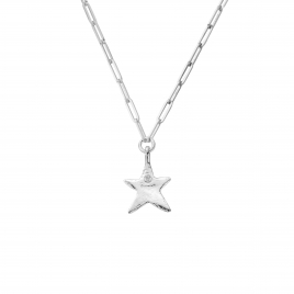 Silver Midi Star Trace Chain Necklace detailed