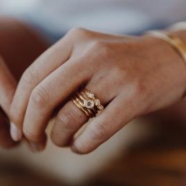 Gold Diamond Trinity Ring detailed