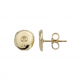 Gold Mini Disc Stud Earrings detailed