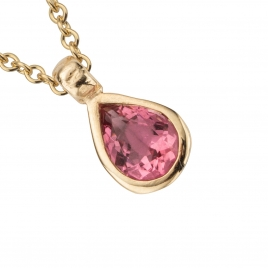 Gold GAIA Pink Tourmaline Teardrop Necklace detailed