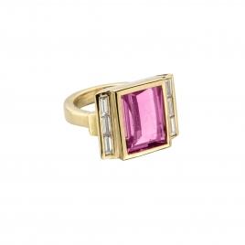 GATSBY Pink Tourmaline & Baguette Diamond Gold Ring