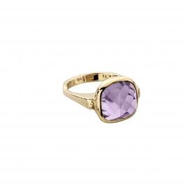 Gold Amethyst Crystal Ring