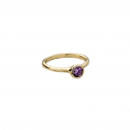 Gold Amethyst Baby Stone Ring