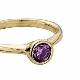 Gold Amethyst Baby Stone Ring detailed