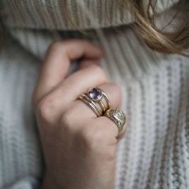 Gold Amethyst Baby Treasure Ring detailed