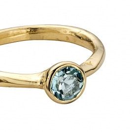 Gold Aquamarine Baby Stone Ring detailed