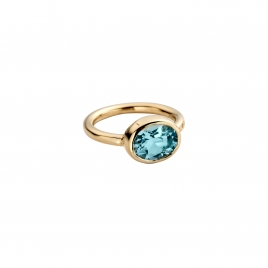Gold Blue Topaz Baby Treasure Ring