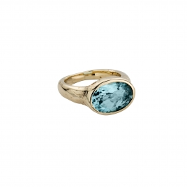 Gold Blue Topaz Treasure Ring