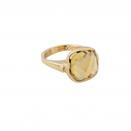 Gold Citrine Crystal Ring