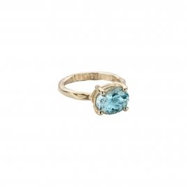 Gold Posh Aquamarine Claw Ring