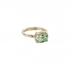 Gold Green Quartz Claw Ring