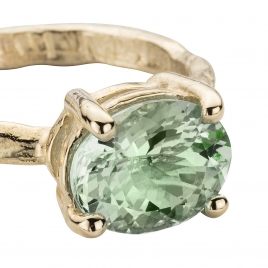 Gold Green Quartz Claw Ring detailed