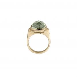 Gold Green Quartz Crystal Ring detailed