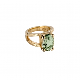 Gold Green Quartz Maxi Claw Ring