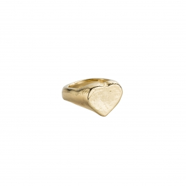 Gold Heart Signet Ring
