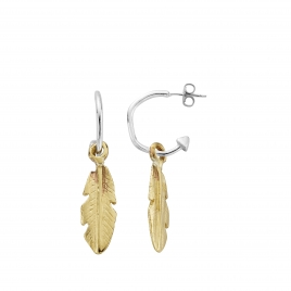 Mini Cupid Hoops With Gold Medium Feather Charms detailed