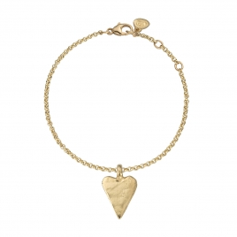 Gold Medium Heart Chain Bracelet