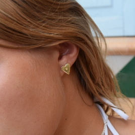 Gold Mini Heart Stud Earrings detailed