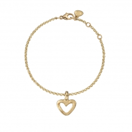 Gold Mini Open Heart Chain Bracelet