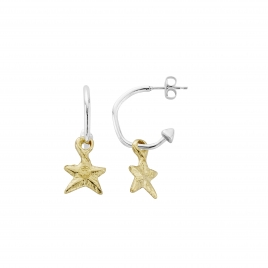 Mini Cupid Hoops with Gold Mini Star Charms detailed