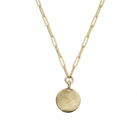 Gold Large Moon Trace Chain Necklace