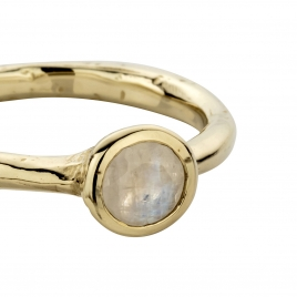 Gold Moonstone Baby Stone Ring detailed