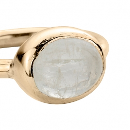 Gold Moonstone Baby Treasure Ring detailed